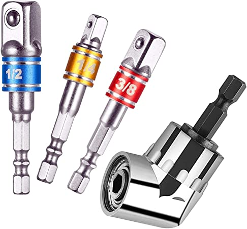 Power Hand Tools Hex Shank Drill Nut Driver Bit Set New,for Universal Socket Joint Set Drive Impact Socket Extension Bar Set Impact Grade Socket Wrench Adapter Set 3Pcs Cr-V | 1//4 3//8 1//2 Drive