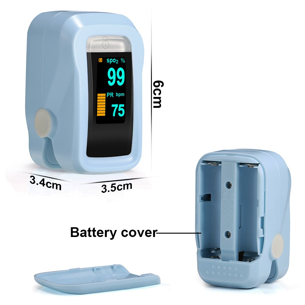 Oxímetro de Dedo GRDE, Medidor de Oxígeno en Sangre y Monitor de Frecuencia Cardíaca con Pantalla OLED, Pulsioxímetro Oxígeno en Sangre para Adultos y Niños ...