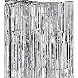 Super Z Outlet 3x8-Feet Metallic Silver Foil Fringe Shiny Curtain