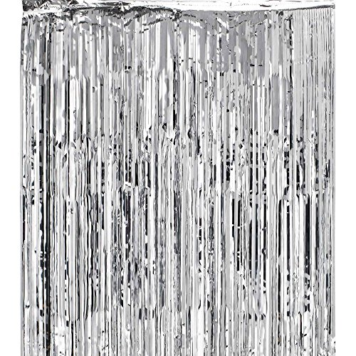 Super Z Outlet 3.2 ft x 9.8 ft Metallic Tinsel Foil Fringe Curtains for Party Photo Backdrop Wedding Decor (Silver) -