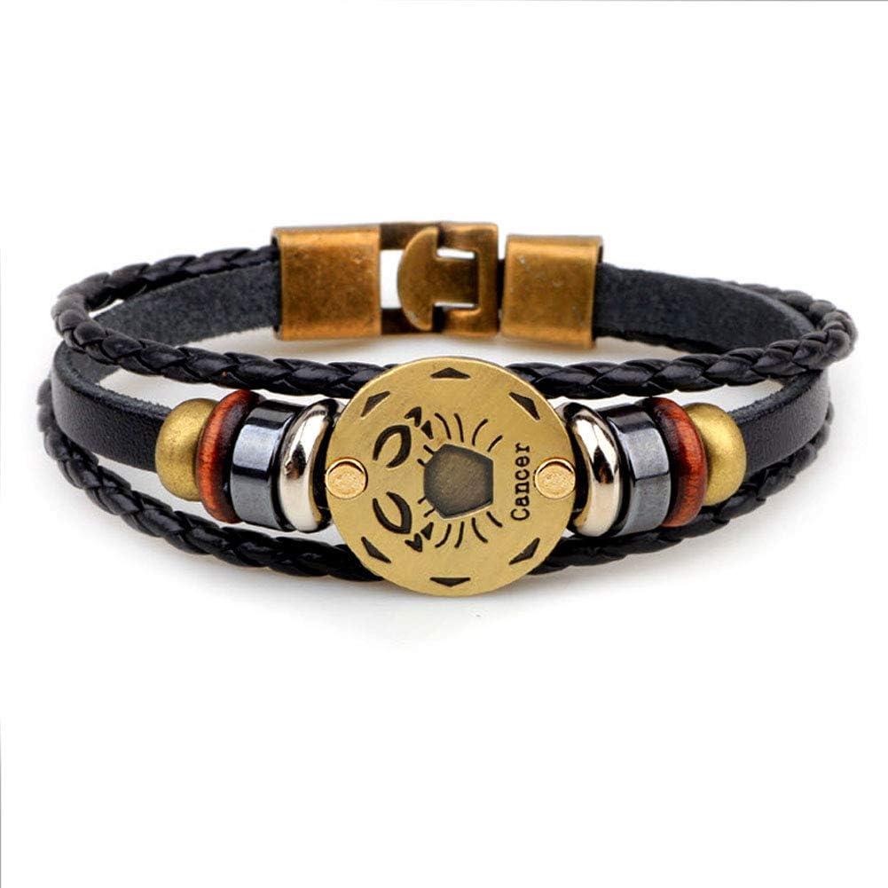 Casa De Novia Jewelry Retro 12 Zodiac Constellation Alloy Leather Hand Woven Braided Rope Bracelet Punk Chain Cuff