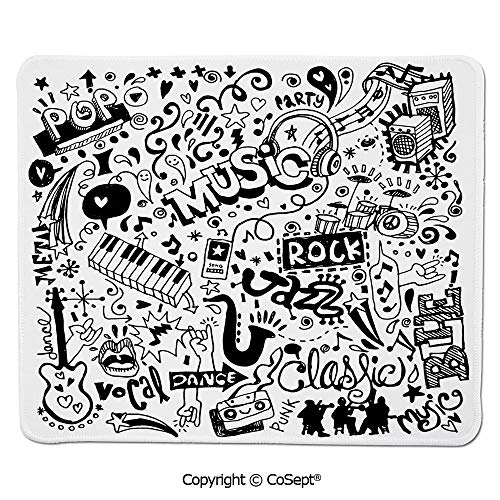 Non-Slip Rubber Base Mousepad,Music Collection with an Abstract Drawing Rock Jazz Blues Metal Classic Dancing,for Computer,Laptop,Home,Office & Travel(15.74