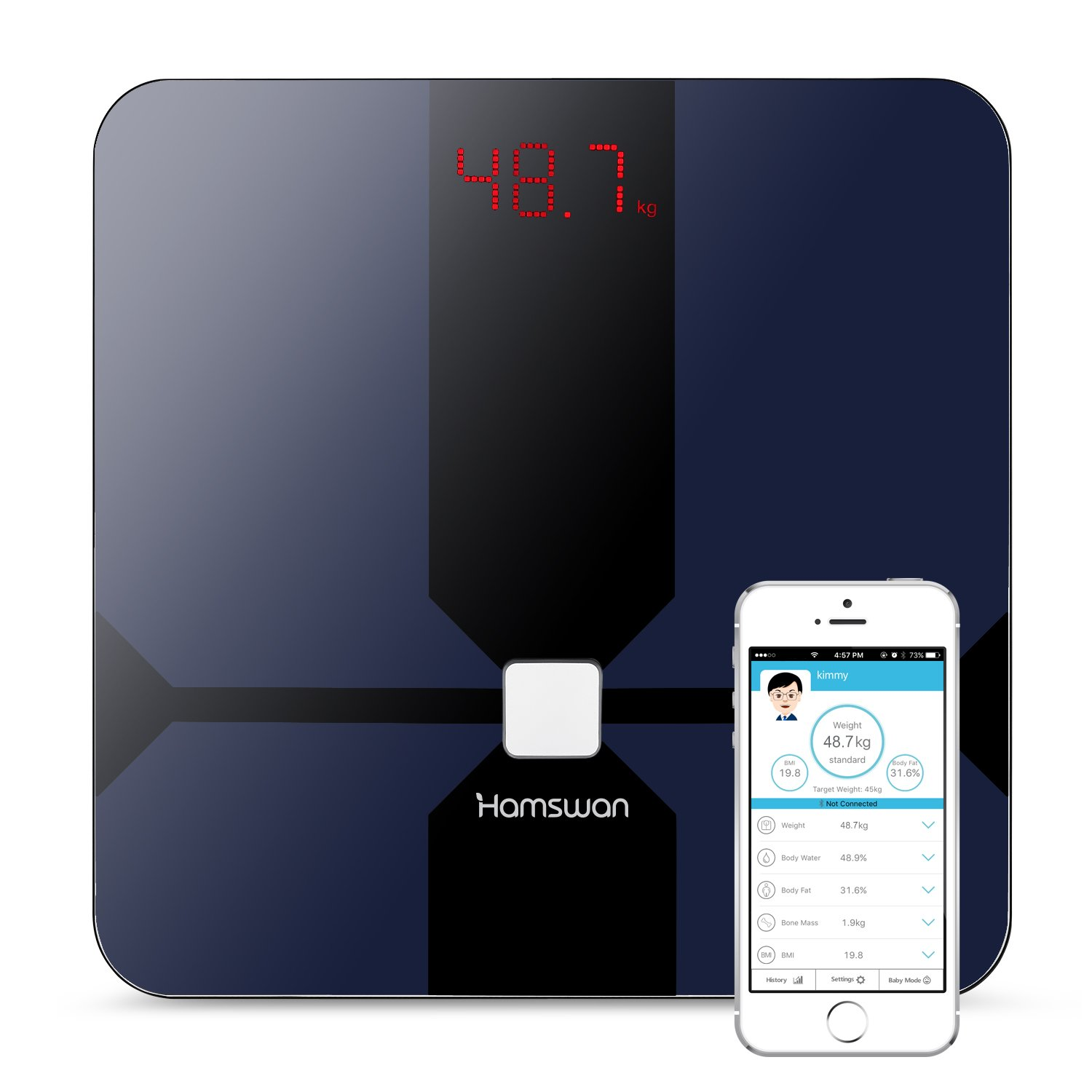 Body Weight Scale, HAMSWAN Bluetooth Body Fat Scale, Smart Wireless Scale Digital Bathroom Weight Scale, Body Composition Analyzer, 180KG/397lbs, for IOS and Android App, Measuring Weight, Fat, Water, BMI, Muscle Mass, Bone Mass and Visceral Fat