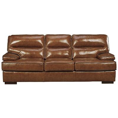 Ashley Furniture Signature Design - Palner Contemporary Leather Sofa - Topaz Brown