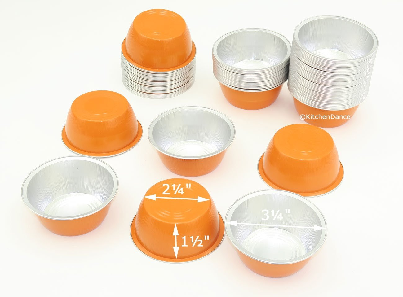 KitchenDance Disposable Aluminum Colored Baking Cups- Creme Brulee- Desserts- 4 oz. Size (Orange, 2000)