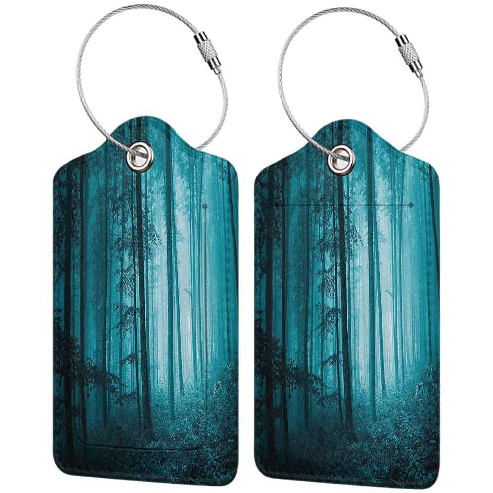 Multi-patterned luggage tag Mystic House Decor Magic Foggy Dark Forest Foliage Landscape Countryside Monochromic Artwork Double-sided printing Teal W2.7 x L4.6