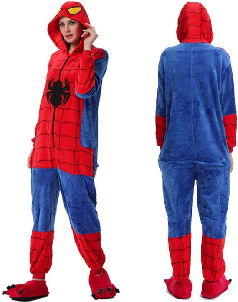 Handaxian Pigiama Donna Adulto Animale Tutine per Uomo Amanti Pigiama Invernale Pigiama Pigiama di Flanella Set Spiderman S