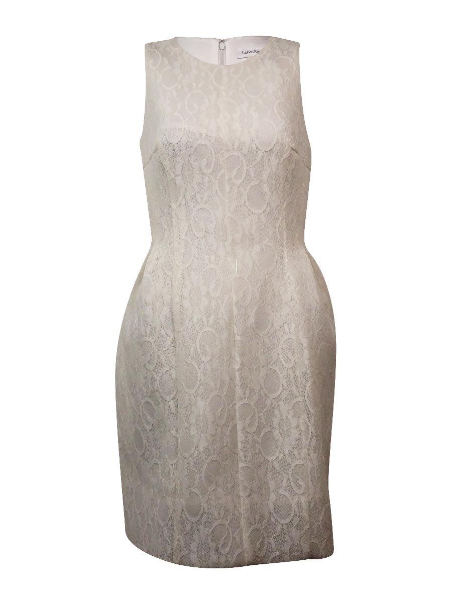 Calvin Klein Women's Sleeveless Lace Fit & Flare Dress (10, Cream)