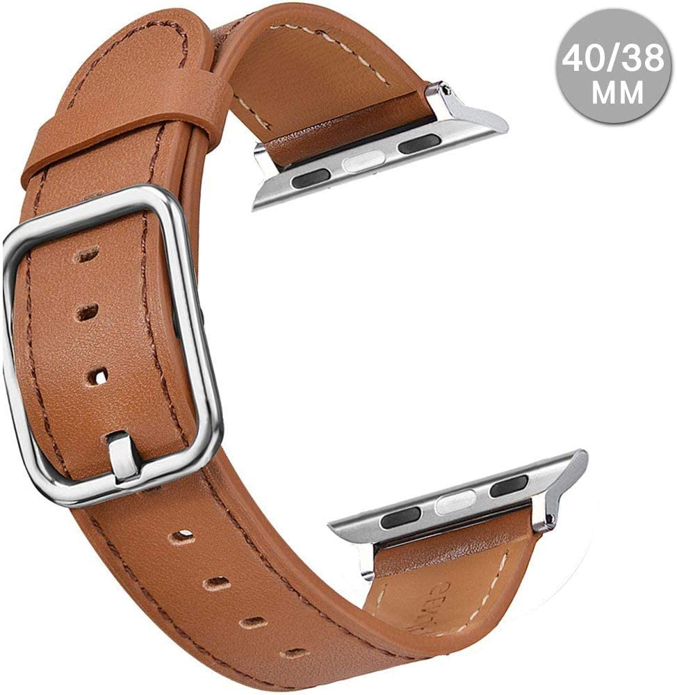 Compatible with Apple Watch Leather Band 42mm 44mm 38mm 40mm | Genuine Leather Replacement Band | Series 5 4 3 2 1 (Square-Brown, 44mm/42mm)