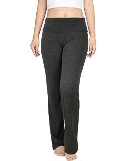 Amazon Com Alki I Luxurious Cotton Lycra Fold Over Yoga Pants Black L Clothing