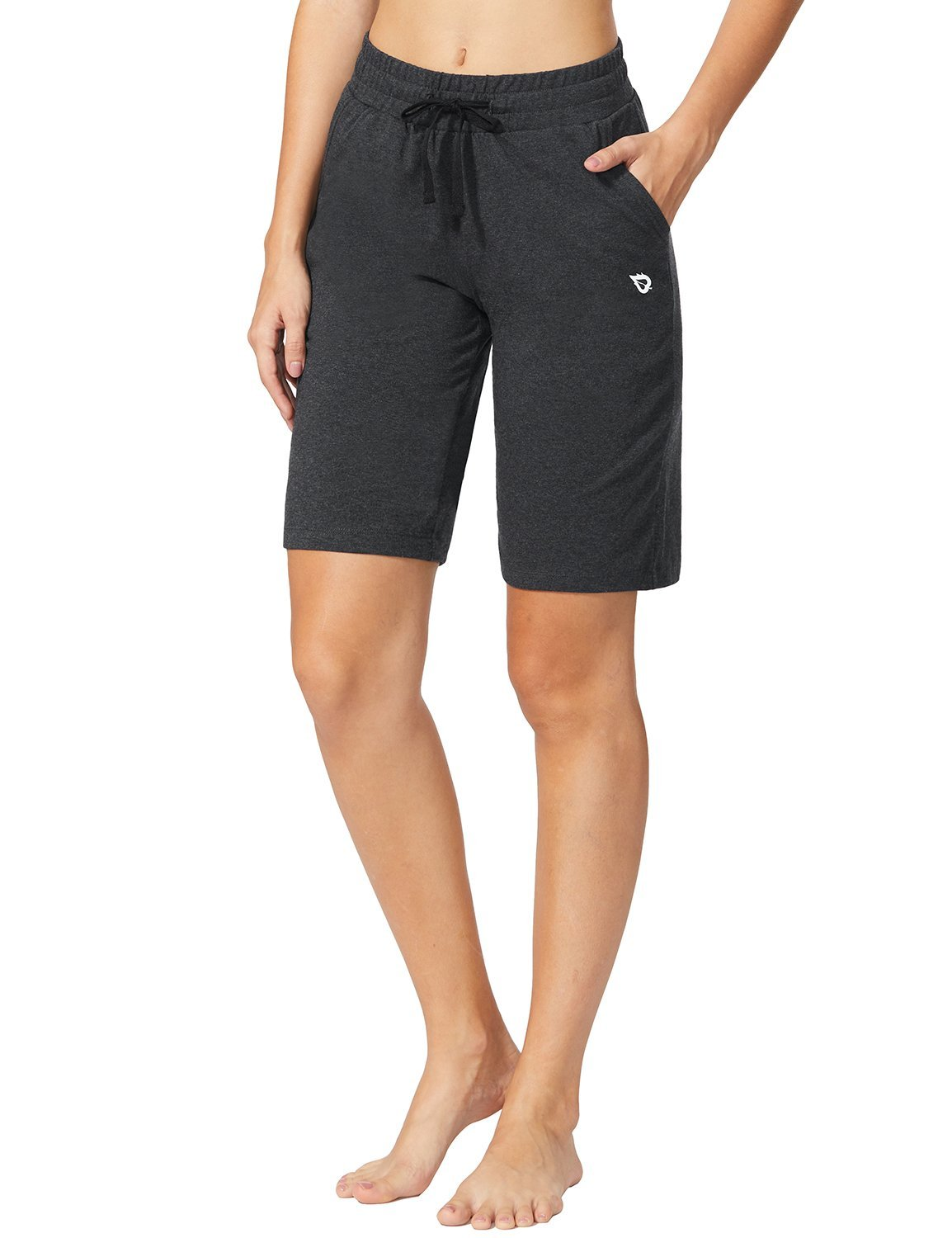 Baleaf Women's Active Yoga Lounge Bermuda Shorts with Pockets Charcoal Size L