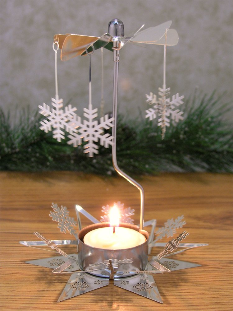 Snowflake Candle Spinner - Rotating Tea Light Candle Holder - Scandinavian Christmas - Silver Snowflake Charms
