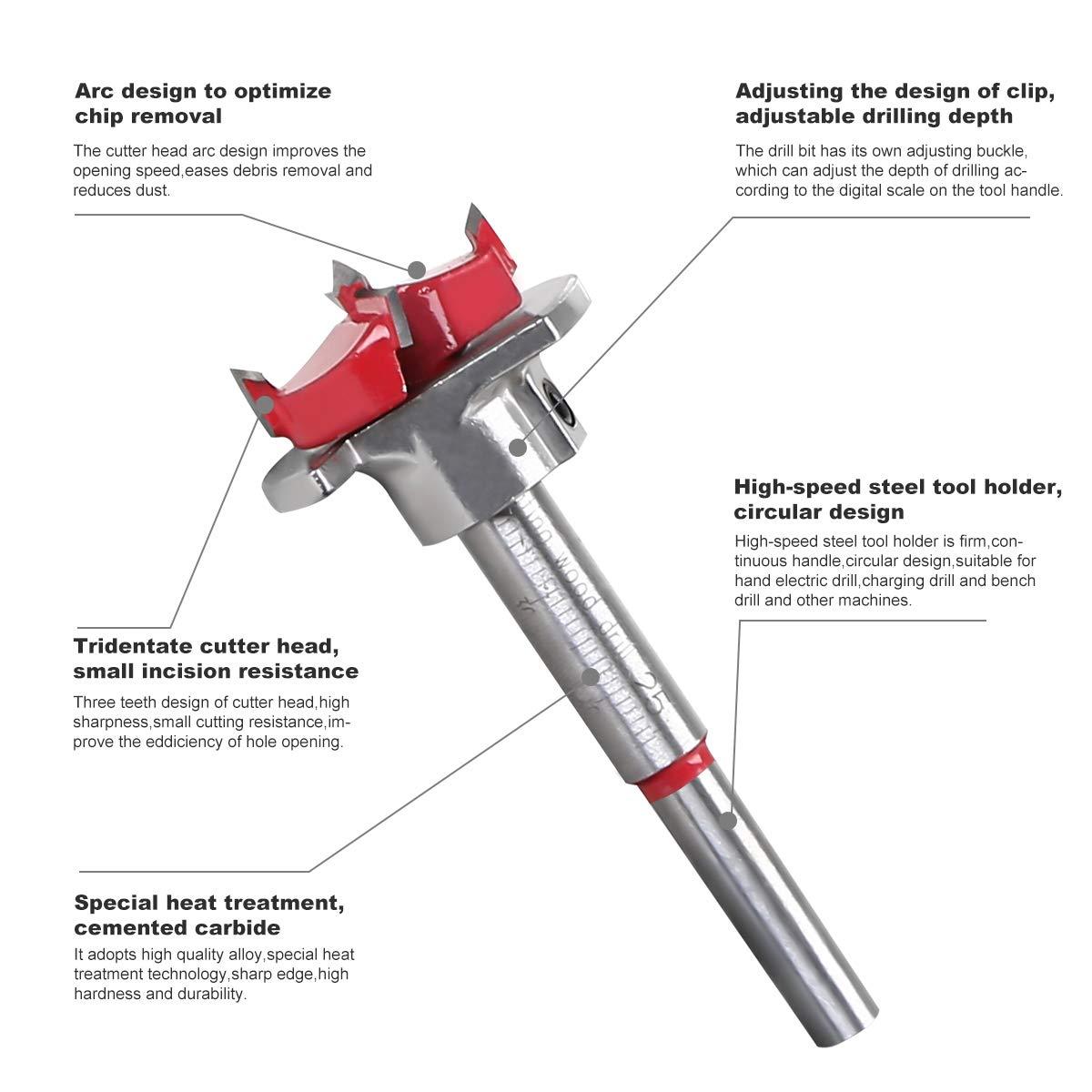 Depth Range 10~40mm Forature per Legno flintronic Set di Punte per Trapano Apriscatole per Lavorazinoe Set Punte Trapano Cemento 25mm Punte per Legno