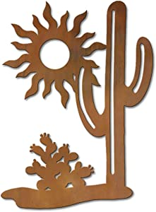 Cold Nose Creations 36in Large Vertical Cactus Sunset Large Rustic Metal Indoor/Outdoor Wall Art - Southwest Decor