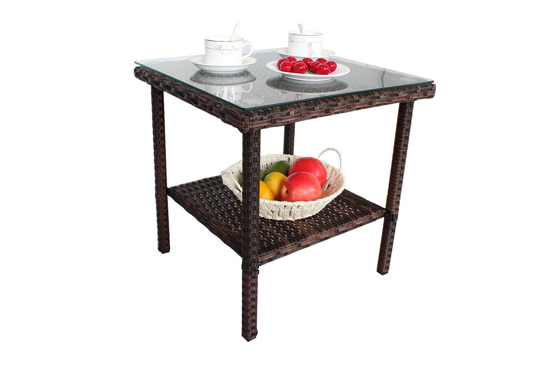 Outdoor Wicker Rattan Side Table Patio Furniture Garden Deck Pool Glass Top Tea Table-Brown