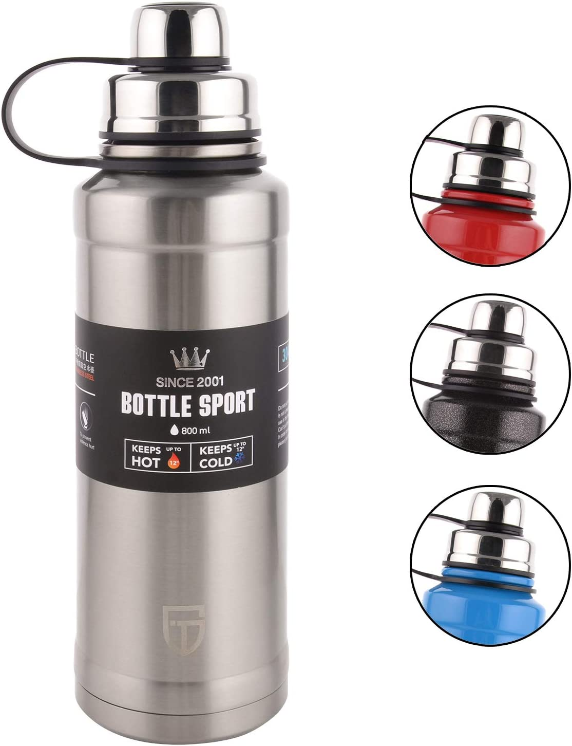 GTI Stainless Steel Vacuum Insulated Water Bottle, 28 Ounce Sports Thermos Flask with Spout Lid, Built-in Filter Thermo Mug, Keeps Hot or Cold with Double Wall Insulated Sweat Proof Design, Silver.