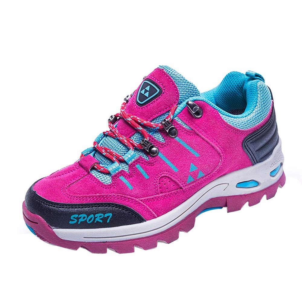Women Shoes,Clearance Sale!!Farjing Men and Women Outdoor Casual Lace-up Comfortable Running Mountaineering Shoes(US:7.5,Hot Pink)
