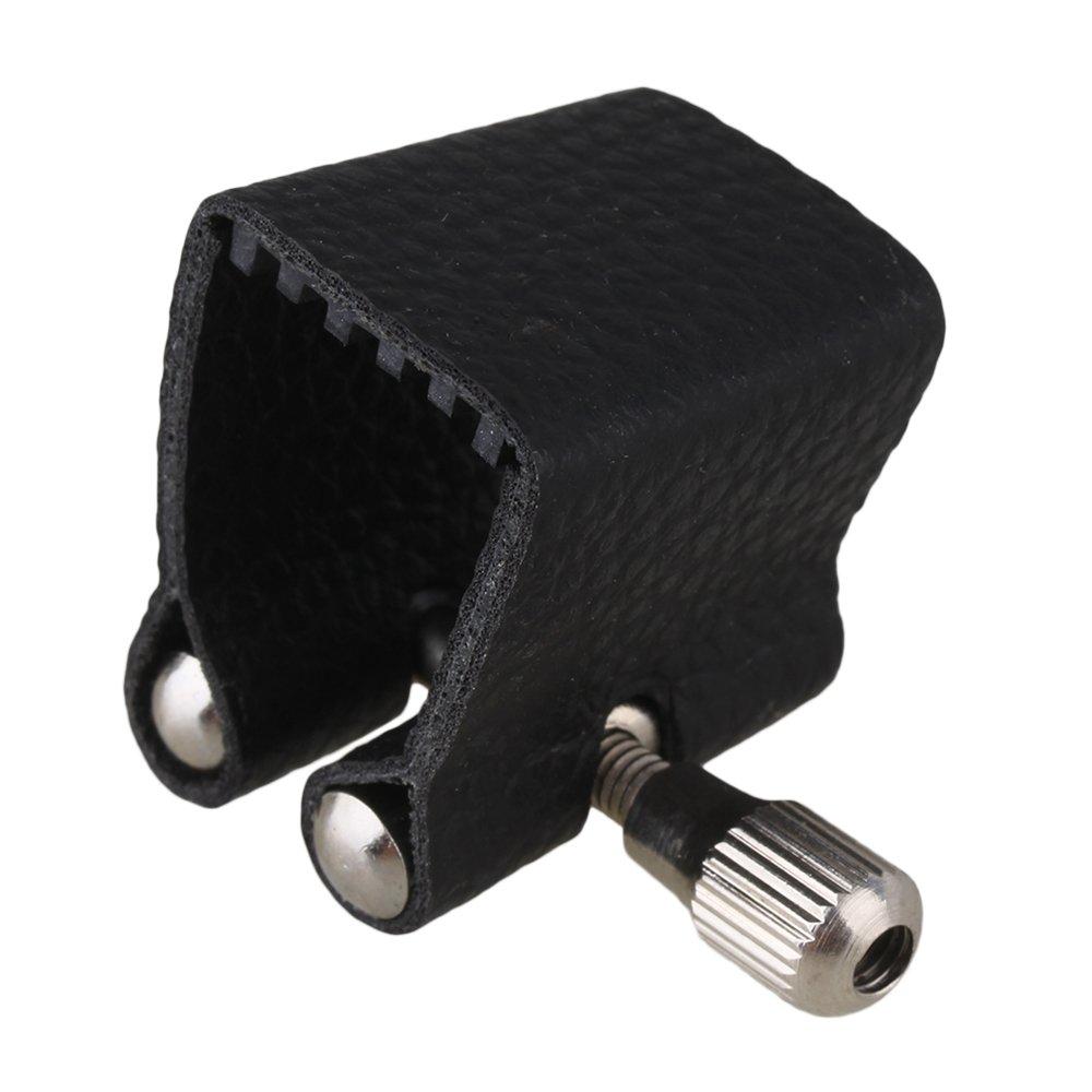 BQLZR Black Leather Ligature For Soprano Saxophone Mouthpiece N01528