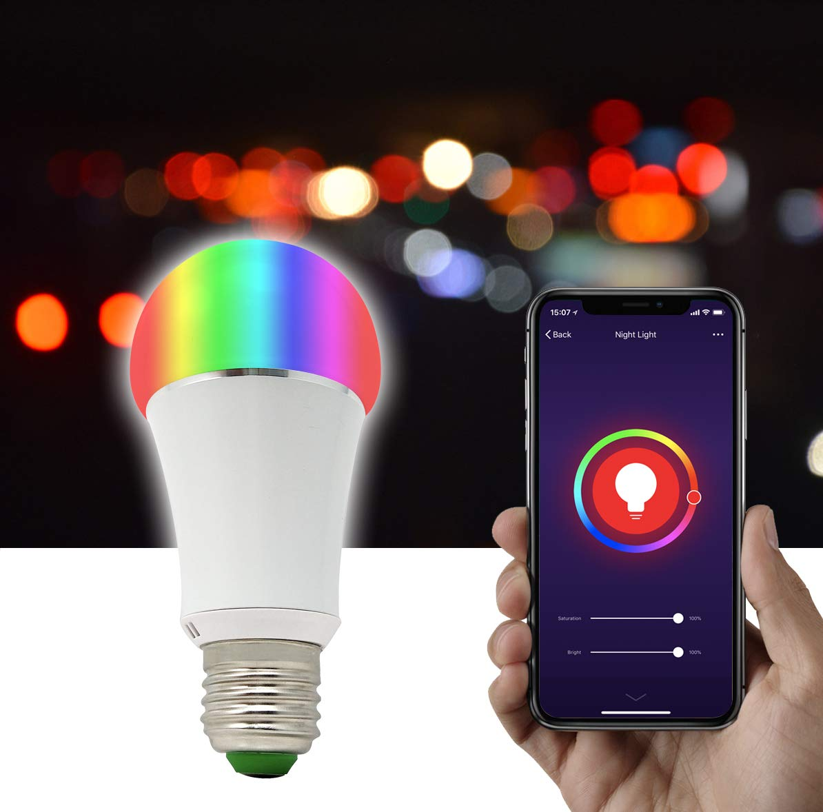 2Pack 50W Equivalent E26 GreenDot Smart WiFi Multi-Colored Adjustable Dimmable LED Light Bulb 7W Compatible with Alexa /& Google Assistant No Hub Required