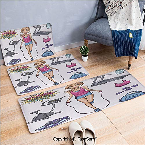 FashSam 3 Piece Flannel Doormat Beautiful Young Cartoon Girl Working Out at Gym Bike Treadmill Outfits and Quote Decorative for Kitchen Rugs Carpet(W15.7xL23.6 by W19.6xL31.5 by W31.4xL47.2)