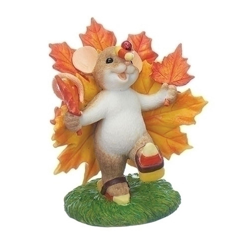 Charming Tails Mouse Maple Leaf Turkey Thanksgiving Figurine Fall Season