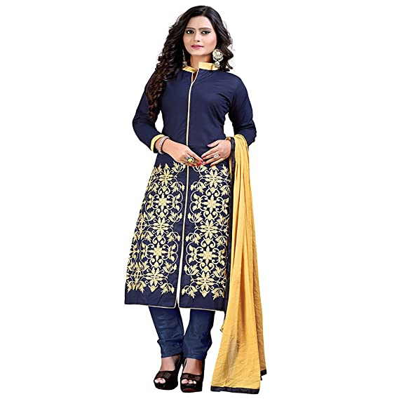 2fde09c453 Siddeshwary Fab Women s Women s Taffeta Silk A-line Embroidered Salwar Suit  Dress Material  Amazon.in  Clothing   Accessories