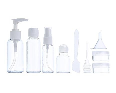 AOLVO portátil conjunto de botellas de viaje, botellas de Spray Rellenable contenedores maquillaje líquido botella