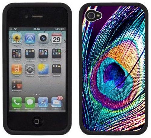 Plume de paon | Fait à la main | iPhone 4 4s | Etui/Housse noir