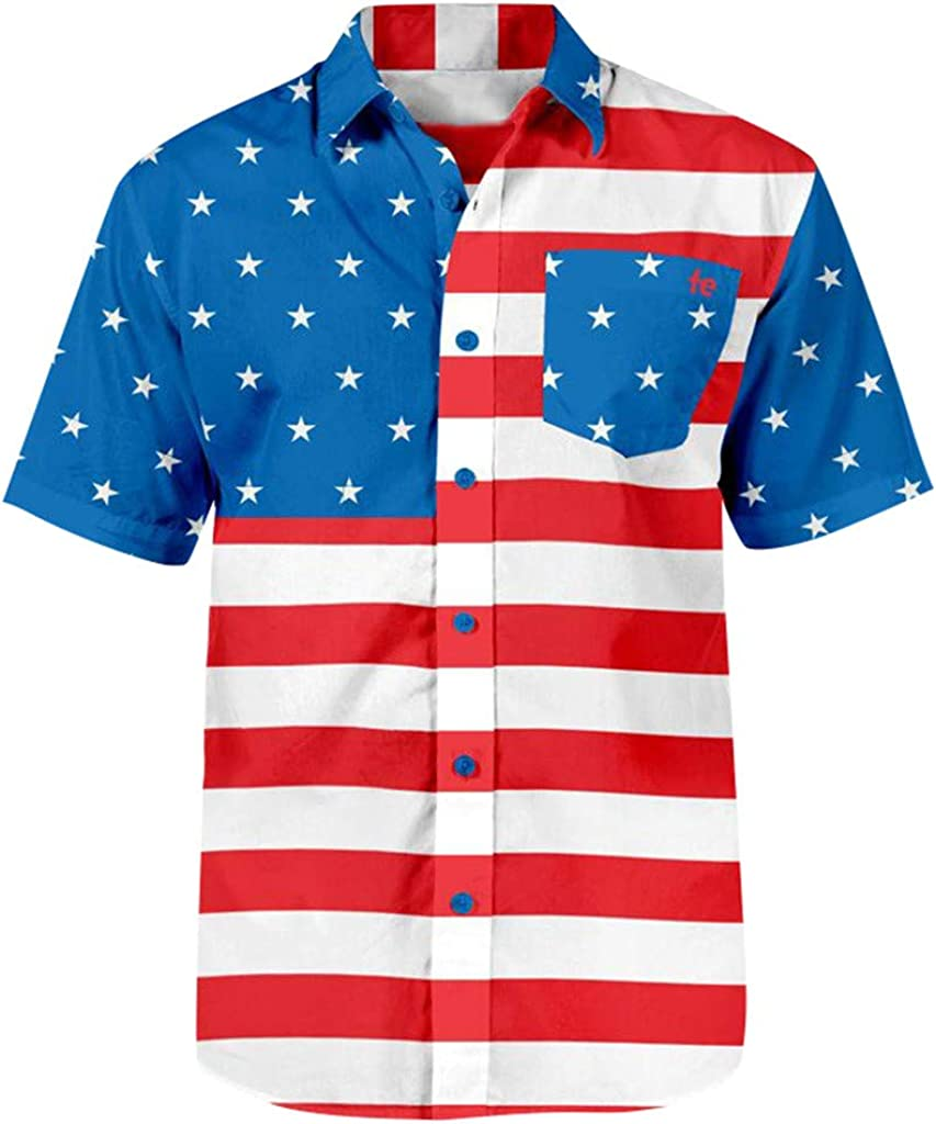 Sharemen Mens USA Flag Print Short Sleeve Pocket Button Print T-Shirt Shirt July 4Th Independence Day Mens Shirt
