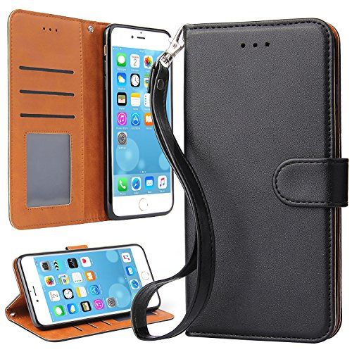 iPhone 7 Plus Case, iPhone 8 Plus Case, OKILA Book Style Slim Wallet Case with Kickstand Feature and Card Slot for Apple iPhone 7 Plus / 8 Plus Phone Leather Case Cover (Black)