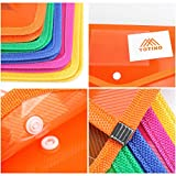YOTINO Premium Expanding Poly Wallets 5Pack, Letter Size/14.4''x10.4'' Expanding File Wallet Large Capacity Poly Pockets Envelope File Folders - Snap Button Closure - Name Card Slot - Assorted Color