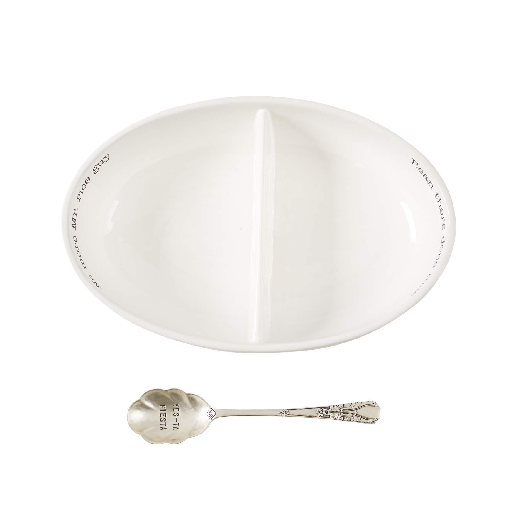 Mud Pie 46000094 Rice and Beans Divided Serving Bowl Set One Size White