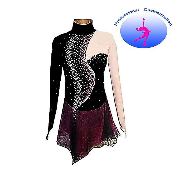 Kmgjc Rhythmic Gymnastics Leotards,Women Girl Skating Wear High Elasticity Handmade Jeweled Diamond Look Long Sleeve Competition Dark Blue Figure Skating Dress