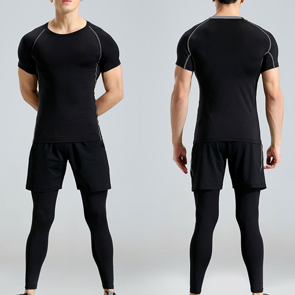Zhuhaitf Men T-Shirts+Shorts+Pants Three Piece Set Sports Training Apparel