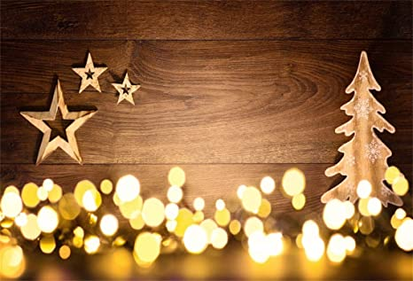 CSFOTO 7x5ft Background Star On Rustic Wood Wall Gold Bokeh Halos Photography Backdrop Merry Christmas Tree