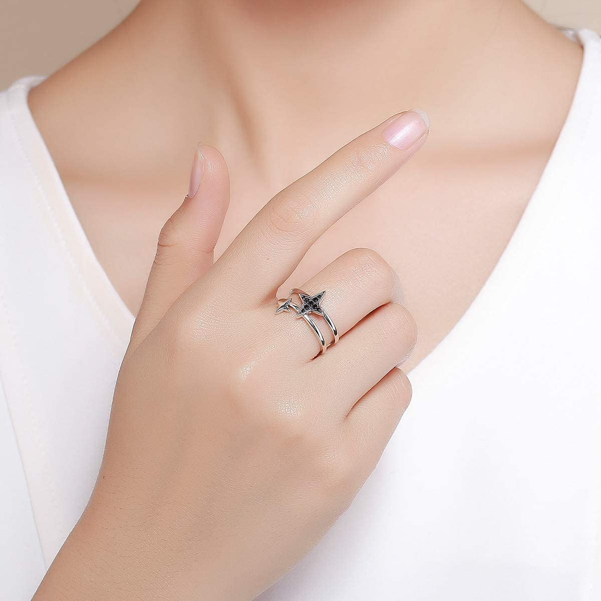 Black CZ The Kiss Sparkling Stars 925 Sterling Silver Adjustable Ring