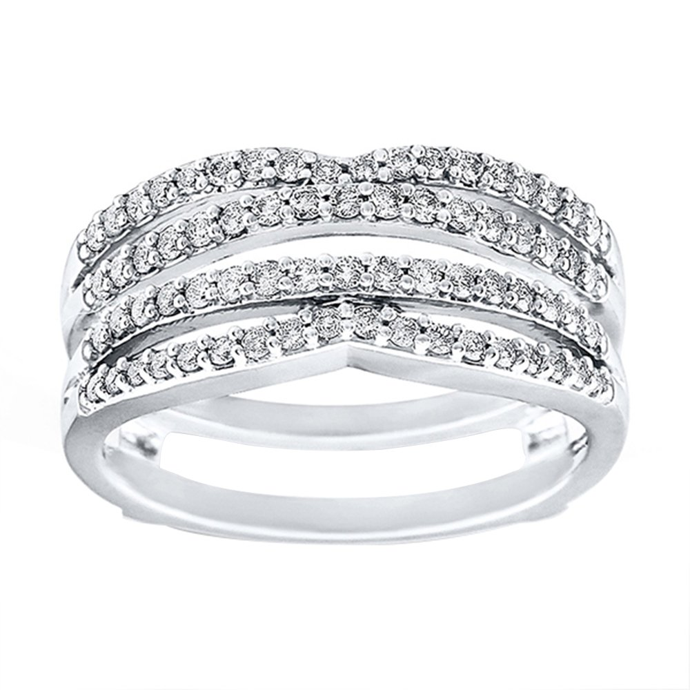 Star Retail 14K White Gold Plated Two Row Solitaire Enhancer Simulated Lab Created Diamonds Ring Guard Wrap Insert 1/2ct 6