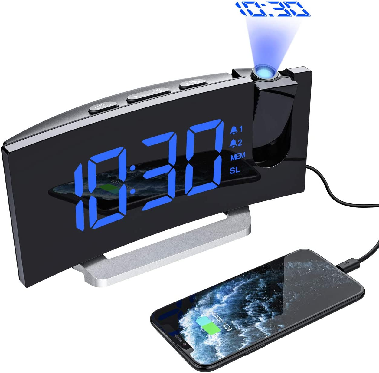 Mpow Digital FM Radio Projector Dimmable Snooze Bedside Alarm Clock USB Charging