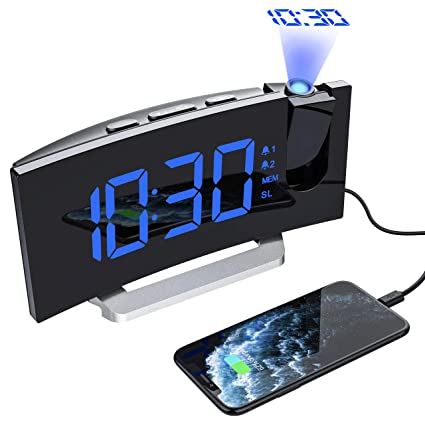 Mpow Radio Despertador Digital Proyector, FM Radio Reloj Despertadores Digitales de Proyección, Alarma Dual con 4 Sonidos 3 Tonos, Puerto USB, ...