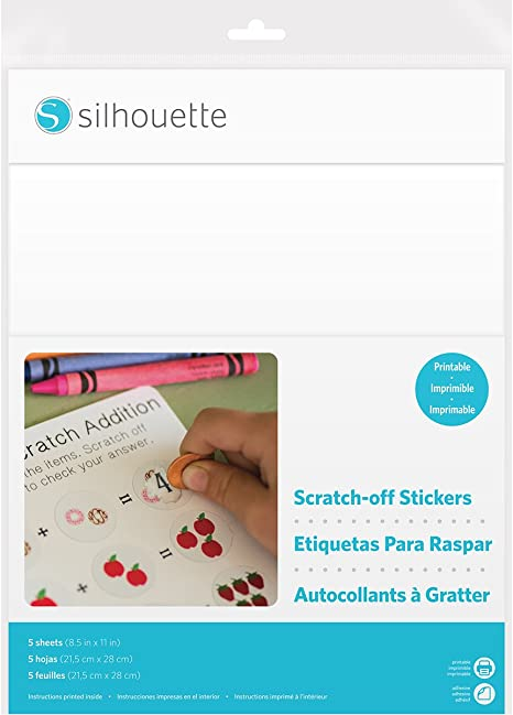"""Silhouette Printable Scratch-off Sticker Sheets 8.5/""""x11/"""" 5pk-printable"""
