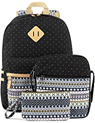 Kosbon Casual Lightweight Canvas Backpacks Cute Dot Bookbag Shoulder Bag School Backpack for Teen