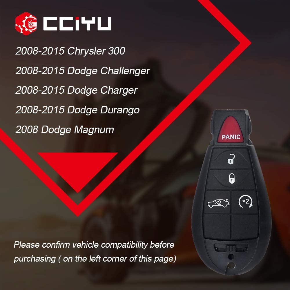 cciyu Keyless Entry Kit Remote Control Key Fob 1X 5 Buttons Replacement fit for Chrysler 300 Jeep Grand Cherokee Dodge Magnum Charger Durango Challenger M3N5WY783X IYZ-C01C