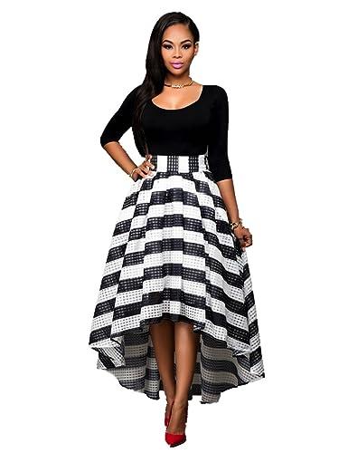 Women Sexy 2 Pieces Set Crewneck Half Sleeve Crop Top Stripe Long Skirt Dress