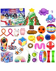 Christmas Gift Fidget Toys 24 Days Countdown Advent Calendar with 27PCS Pressure-Relief Fidget Toys Pack, Sensory Fidget Toy Pack with Storage Box, Stress Relief and Anti-Anxiety sensory Toys for Kids Adults