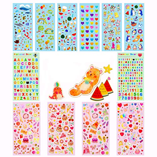 - Stickers for Kids,12 Different Sheets Kids Stickers (720+Count),Glitter Stickers, for Parents,Teachers,DIY Stickers for Scrapbook,Gift,Including Smiley Faces,Rainbow,Animals,Stars,Cakes and More