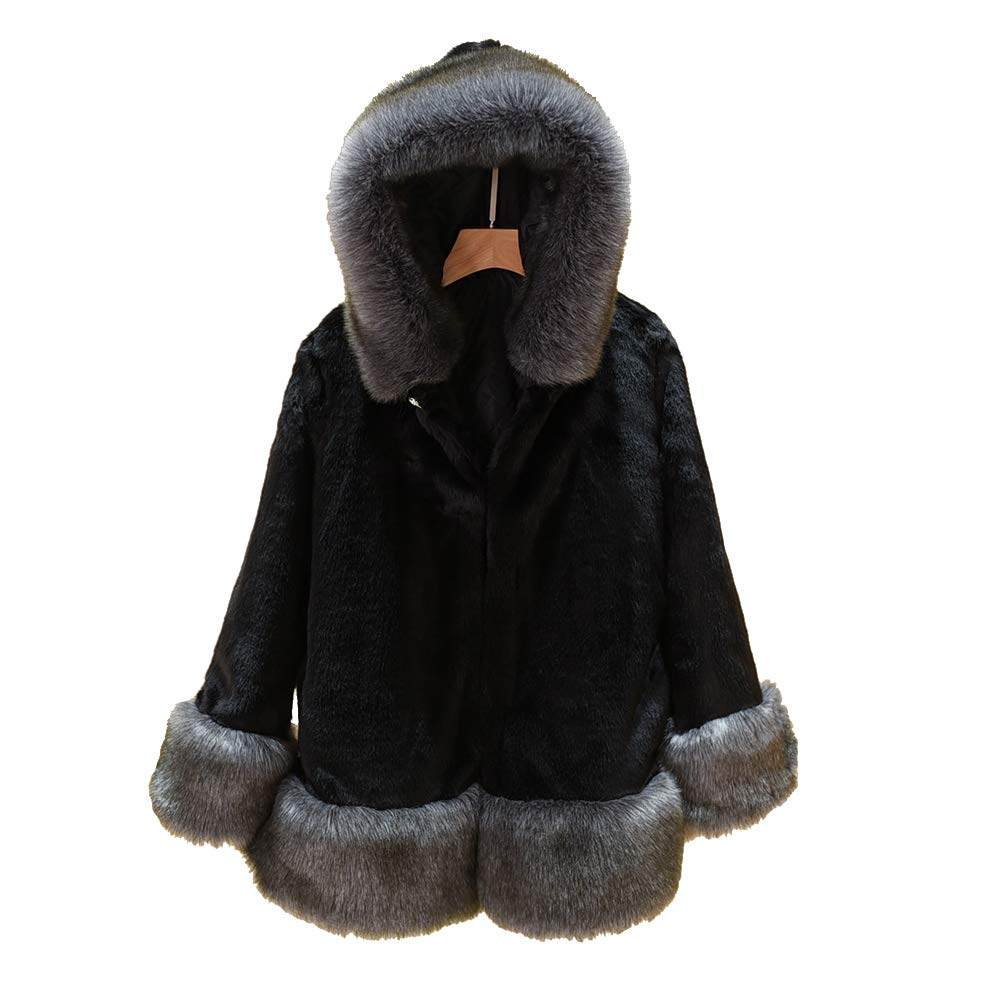 Black Women's Faux Fur Coat Winter Hooded Thick Jacket Outerwear Warm Overcoat