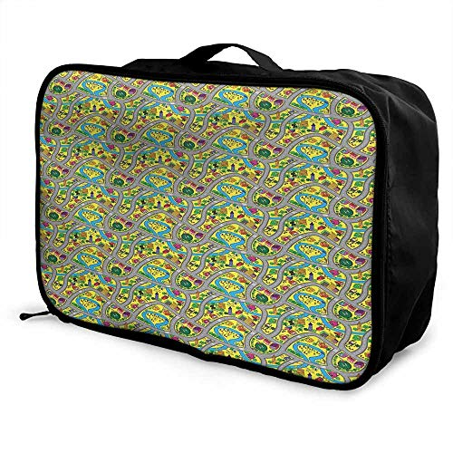 (Kids Car Race Track Roadway Activity Luggage trolley bag Abstract Illustration with River Intersecting Roads Waterproof Fashion Lightweight Multicolor)