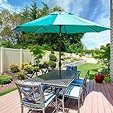 Abba Patio 9' Patio Umbrella Outdoor Table Market Umbrella with Push Button Tilt/Crank, Turquoise