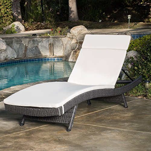 Olivia Outdoor Grey Wicker Adjustable Chaise Lounge with Beige Cushion