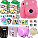 Fujifilm Instax Mini 9 Instant Camera PINK + INSTAX Film (40 Sheets) + Accessories Kit / Bundle + Custom Fitted Case + 4 AA Rechargeable Batteries & Charger + Assorted Frames + Photo Album + MORE